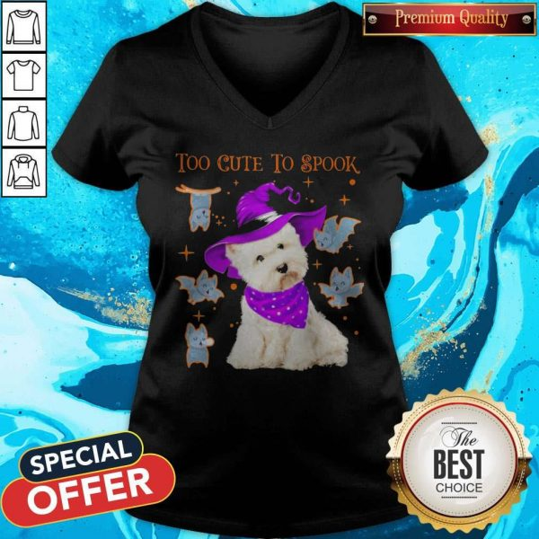 Awesome Maltese Dog Too Cute To Spook Halloween V-neck