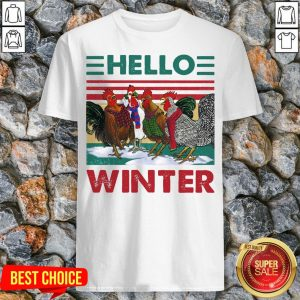 Chicken Rooster Hello Winter Christmas Shirt