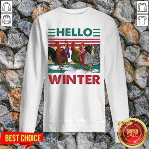 Chicken Rooster Hello Winter Christmas Sweatshirt