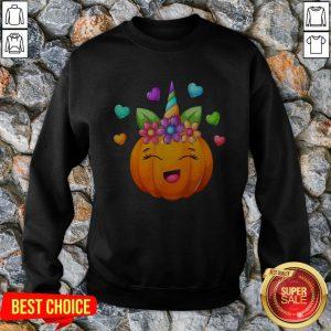 Cute Unicorn Pumpkin For Halloween Girls Sweatshirt