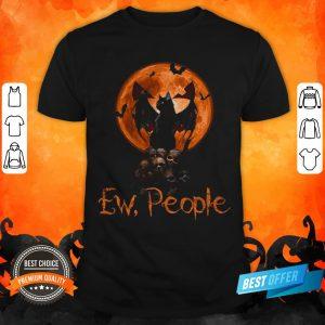 Ew People Black Cat Bats Moon Skull Halloween Shirt