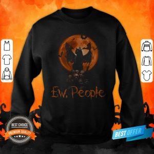Ew People Black Cat Bats Moon Skull Halloween Sweatshirt