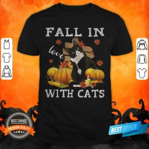 Halloween Fall In Love With Cats Pumpkins Shirt