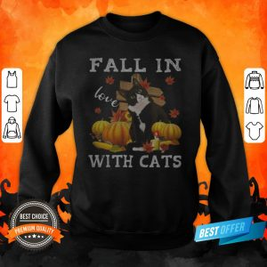 Halloween Fall In Love With Cats Pumpkins Sweatshirt