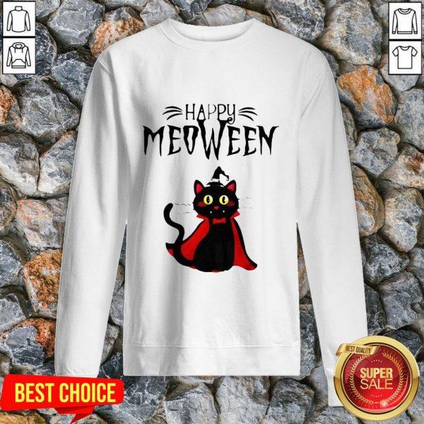 Happy Meoween Black Cat Halloween Sweatshirt