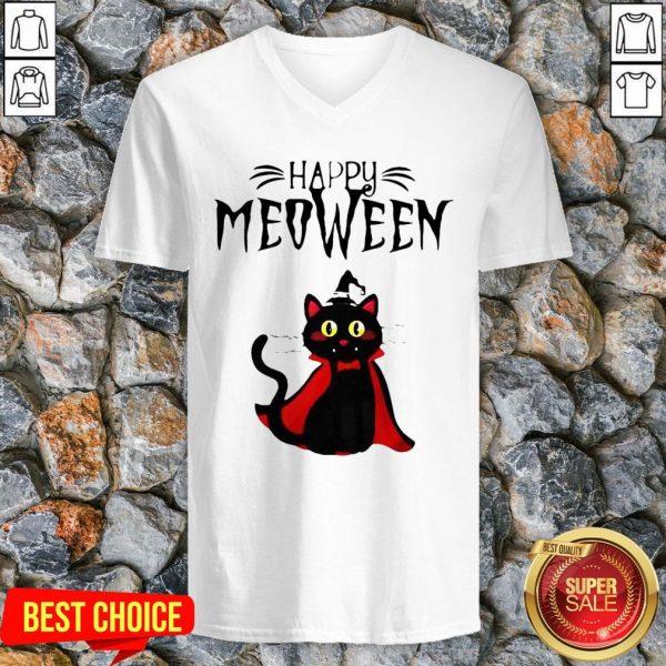 Happy Meoween Black Cat Halloween V Neck