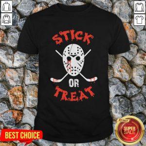Jack Voorhees Face Stick Or Treat Hockey Halloween Shirt