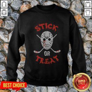 Jack Voorhees Face Stick Or Treat Hockey Halloween Sweatshirt