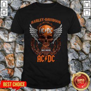 Skull Harley Davidson Motorcycles Ac Dc Shirt
