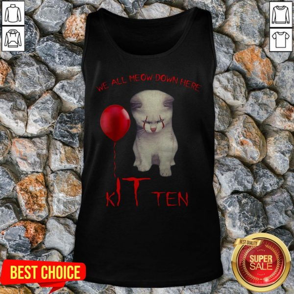 We All Meow Down Here Kitten White Cat Tank Top