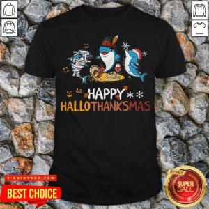 Baby Shark Halloween And Merry Christmas Happy Hallothanksmas Shirt