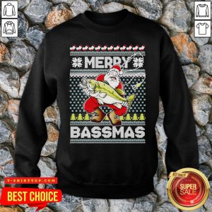 Merry Bassmas Fish Santa Ugly Christmas SweatShirt
