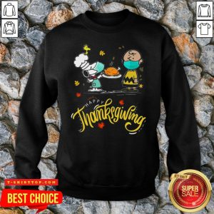 Snoopy And Charlie Brown Face Mask Happy Thanksgiving SweatShirt
