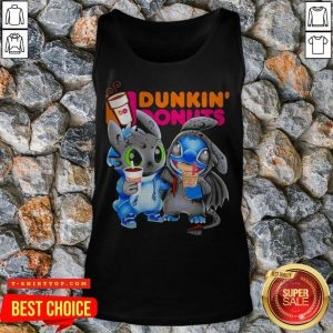 Stitch And Toothless Hug Dunkin Donuts Tank Top