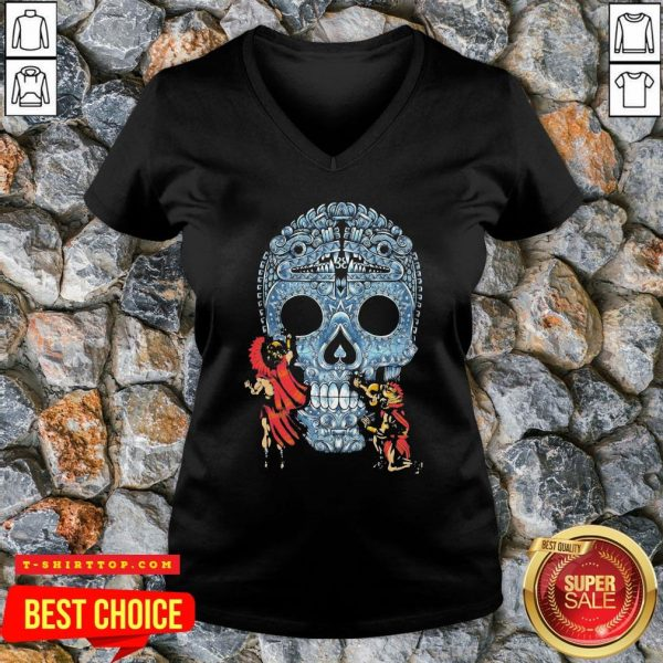 Premium Native Sugar Skull Mexico V-neck