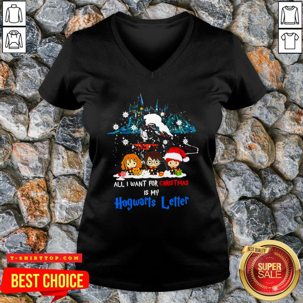 Chibi All I Want For Christmas Is Hogwarts Letter V-neck