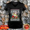 Merry Bassmas Fish Santa Ugly Christmas V-neck