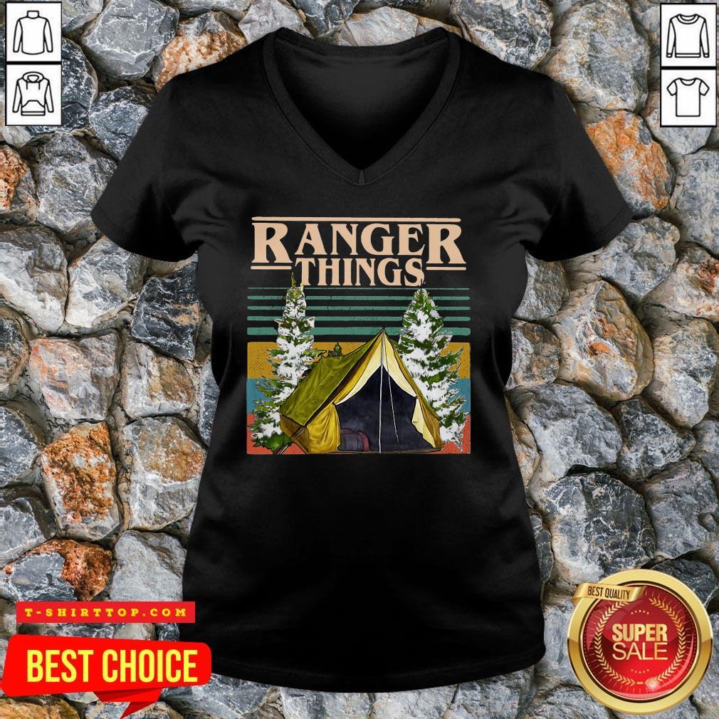 Good Camping Ranger Things Stranger Things Vintage V-neck