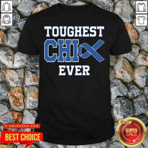Good Toughest Chick Ever Colon Cancer Awareness Blue Ribbon Shirt