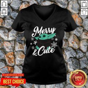 Nice Baby Yoda Merry And Cute V-neck