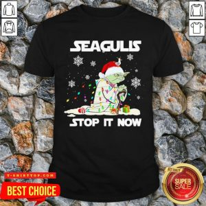 Nice Baby Yoda Santa Hat Seagull Stop It Now Snow Gift Christmas Sweater Shirt - Design By T-shirtbear.com