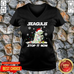 Nice Baby Yoda Santa Hat Seagull Stop It Now Snow Gift Christmas Sweater V-neck Design By T-shirtbear.com