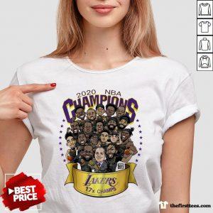 Premium 2020 NBA Champions Los Angeles Lakers 17 Champs Cartoon V-neck