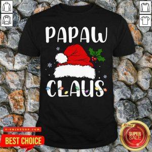 Pretty Santa Hat Papaw Claus Light Christmas Shirt