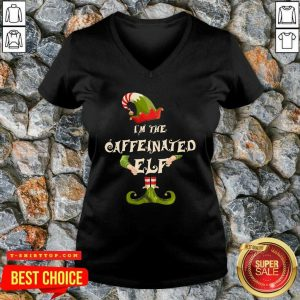 Top I'm The Caffeinated Elf Merry Christmas V-neck