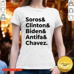 Soros Clinton Biden Antifa Chavez V-neck