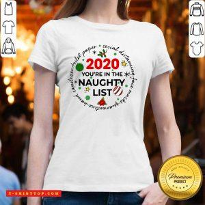 2020 You're On The Naughty List Christmas V-neck - Design by Tshirttop