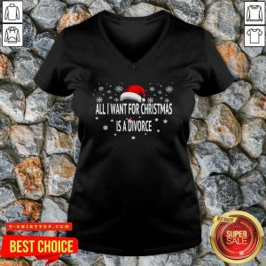 All I Want For Christmas Is A Divorce Hat Santa Xmas V-neck - Design by Tshirttop - Design by Tshirttop