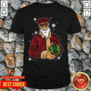 Cool Santa Police Officer Giving Gift On Ugly Christmas Shirt - Design by Tshirttop