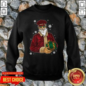 Cool Santa Police Officer Giving Gift On Ugly Christmas SweatShirt - Design by Tshirttop