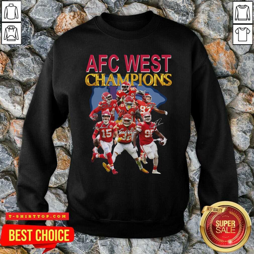 Kansas City Chiefs AFC West Champions Signatures SweatShirt - Design by Tshirttop