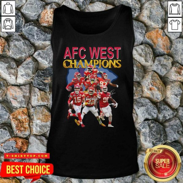 Kansas City Chiefs AFC West Champions Signatures Tank Top - Design by Tshirttop