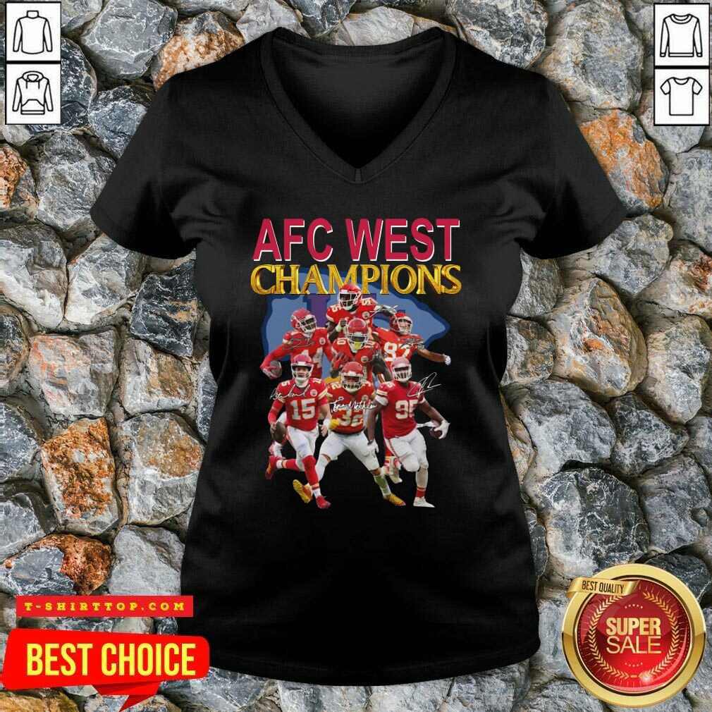 Kansas City Chiefs AFC West Champions Signatures V-neck - Design by Tshirttop