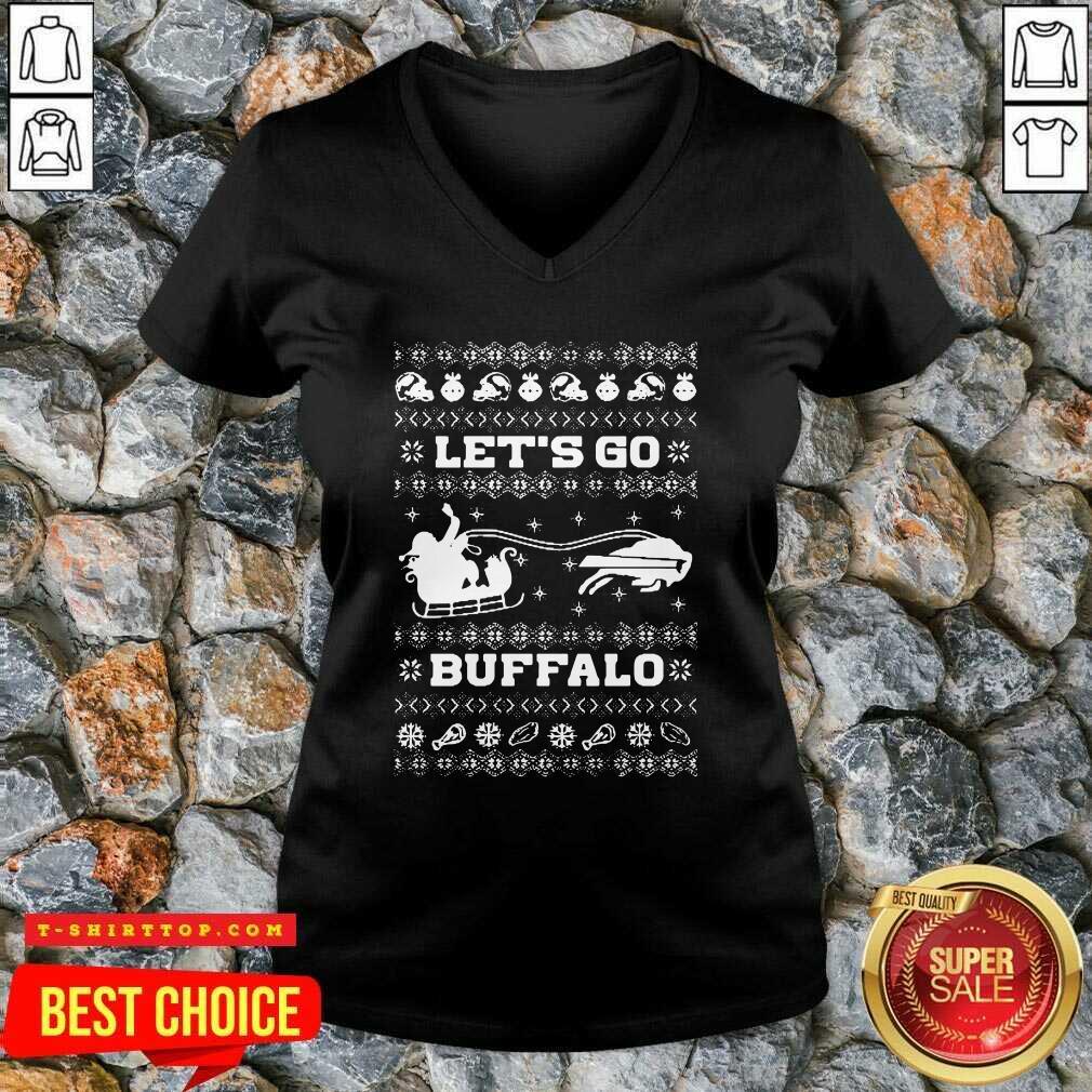 Let Go Buffalo Bills Ugly Christmas V-neck - Design by Tshirttop