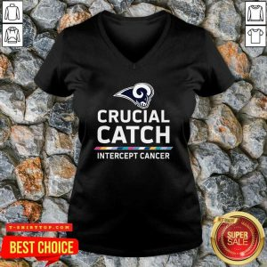 Los Angeles Rams Crucial Catch Intercept Cancer V-neck - Design by Tshirttop