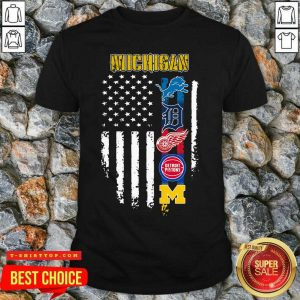 Michigan Detroit Lions Detroit Red Wings Detroit Pistons American Flag Shirt - Design by Tshirttop