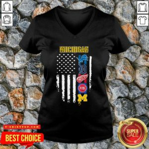 Michigan Detroit Lions Detroit Red Wings Detroit Pistons American Flag V-neck - Design by Tshirttop