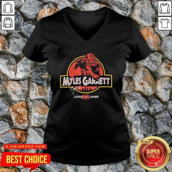 Nice Jurassic Myles Garrett Tee V-neck - Design by Tshirttop