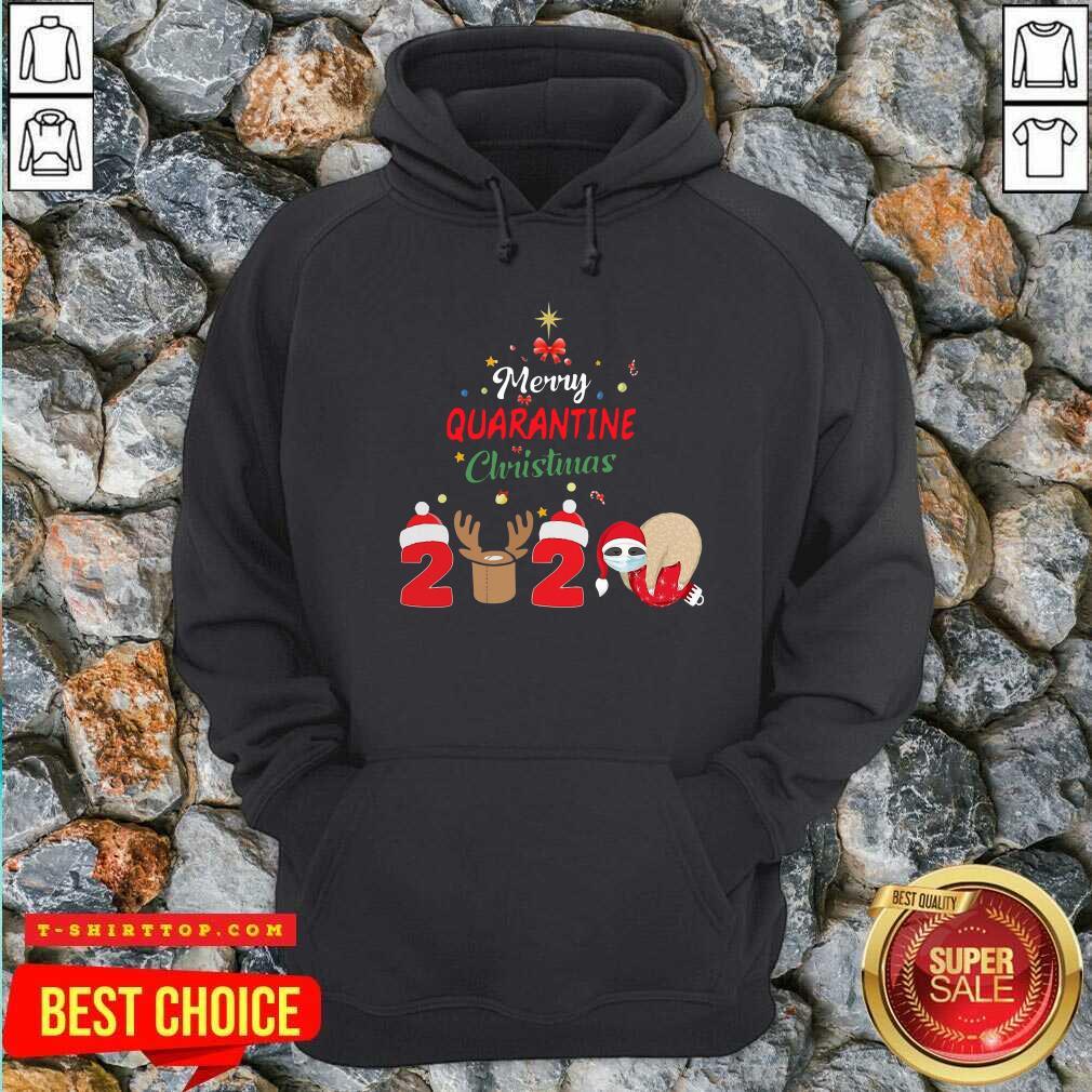 Nice Merry Quarantine Christmas 2020 Sloth Hat Santa Christmas Hoodie - Design by Tshirttop