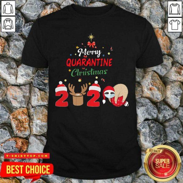 Nice Merry Quarantine Christmas 2020 Sloth Hat Santa Christmas Shirt - Design by Tshirttop