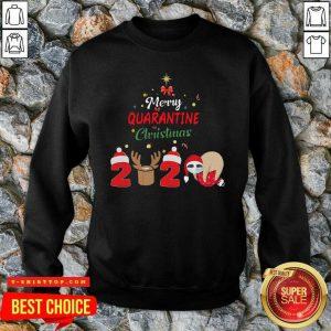 Nice Merry Quarantine Christmas 2020 Sloth Hat Santa Christmas SweatShirt - Design by Tshirttop