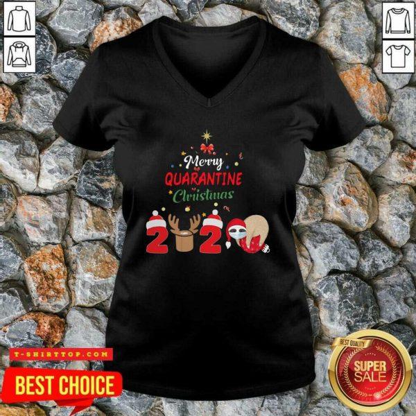 Nice Merry Quarantine Christmas 2020 Sloth Hat Santa Christmas V-neck - Design by Tshirttop