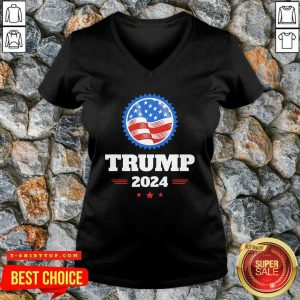 Official Trump 2024 American Flag V-neck - Design by Tshirttop