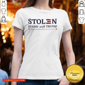 Perfect Stolen Stand With Trump V-neck - Design by Tshirttop