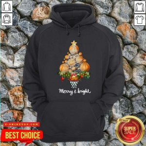 Premium Volleyball Merry And Bright Christmas Tree Hoodie - Design by Tshirttop