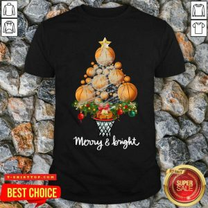 Premium Volleyball Merry And Bright Christmas Tree Shirt - Design by Tshirttop